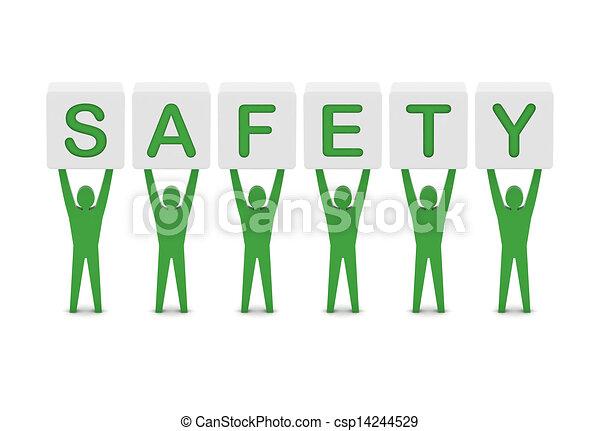 Hombres que sostienen la palabra seguridad. Ilustración 3D. - csp14244529