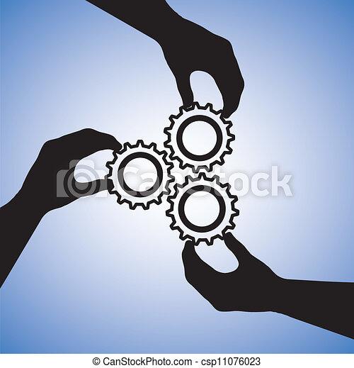 Concepte ilustración de trabajo en equipo y gente cooperando para el éxito en equipo. El gráfico incluye siluetas de mano sujetando las ruedas juntas indicando colaboración y uniendo las manos para el éxito - csp11076023