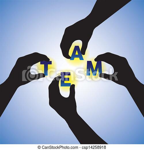 Concepto vector gráfico. La gente se da la mano silueta arreglando la palabra del equipo. Esta ilustración también puede combinar la creación y construcción de equipos o la creación de la palabra - csp14258918