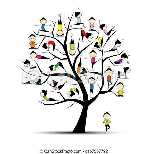 Practico yoga, concepto de árbol para tu diseño - csp7557792