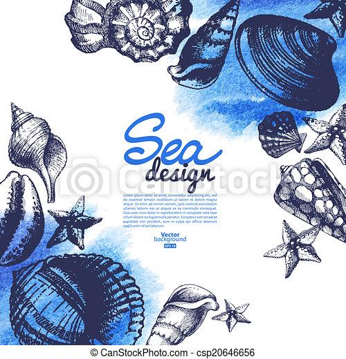 Conchas marinas. Diseño náutico marino. Dibujo a mano y - csp20646656