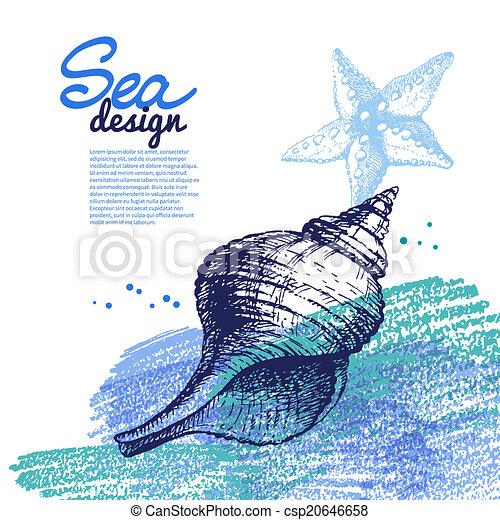 Conchas marinas. Diseño náutico marino. Dibujo a mano y - csp20646658