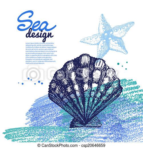 Conchas marinas. Diseño náutico marino. Dibujo a mano y - csp20646659