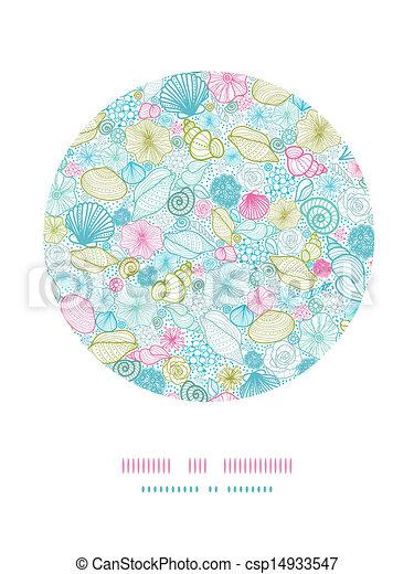 Conchas de mar en la línea del círculo de arte - csp14933547