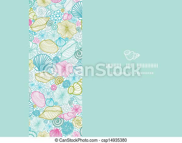 Conchas de mar, línea de arte horizontal decorativas decorativas sin marcas - csp14935380