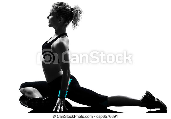 Una postura de ejercicio femenino - csp6576891