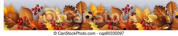 Garland de otoño con hojas, bayas y conos. - csp60335097