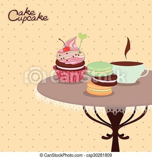 Productos de panadería en una mesa redonda con taza de café, confitería, dulces, postres. - csp30281809