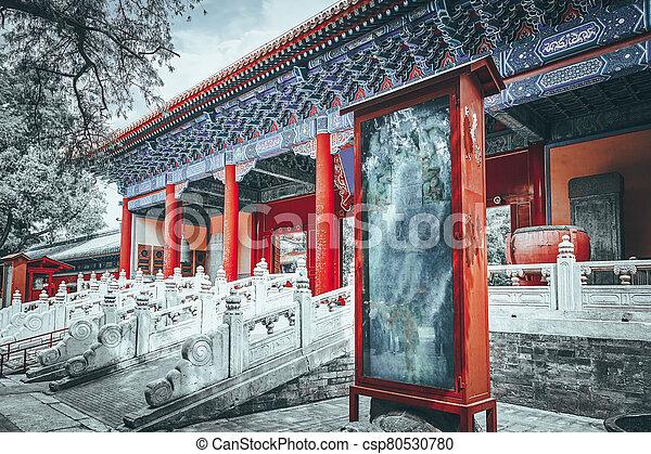 confucius, beijing, más grande, templo, segundo, china., confuciano - csp80530780