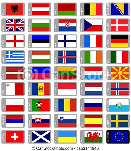 Banderas europeas establecidas - csp3144946