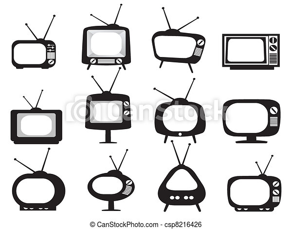 Los iconos de la televisión retro negro están listos - csp8216426