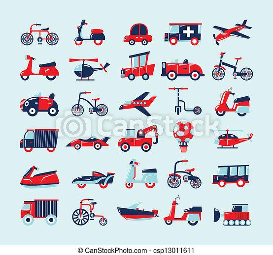 Retrovirtiendo iconos de transporte - csp13011611