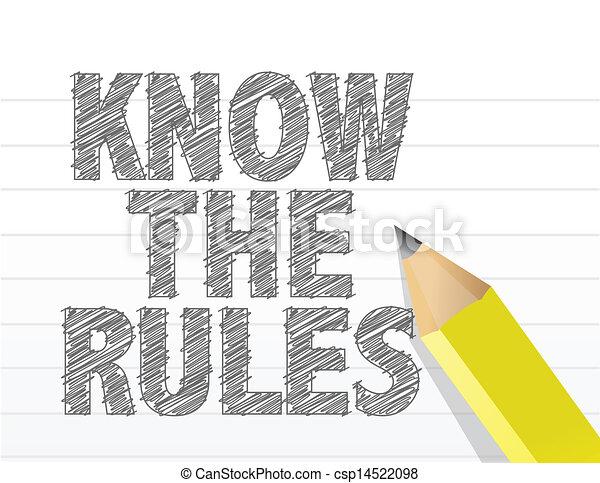 Conoce las reglas escritas en un papel en blanco - csp14522098
