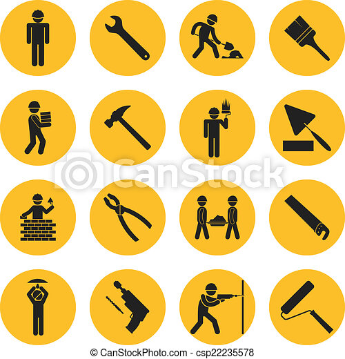 Construcción del círculo amarillo y iconos de construcción - csp22235578