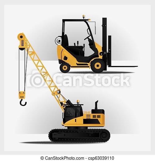 Vehículos de construcción ilustración vectorial - csp63039110