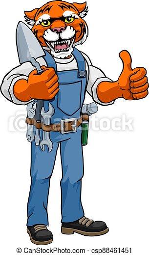 constructor, tenencia, tigre, albañil, herramienta, paleta - csp88461451