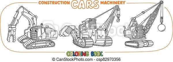 constuction, divertido, pequeño, coches, set., libro, colorido - csp82970356