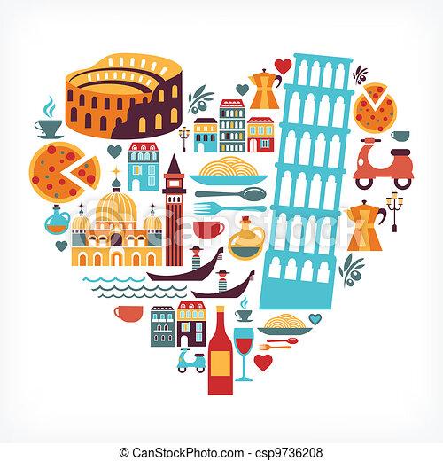 El amor de Italia, forma de corazón con iconos vectores - csp9736208
