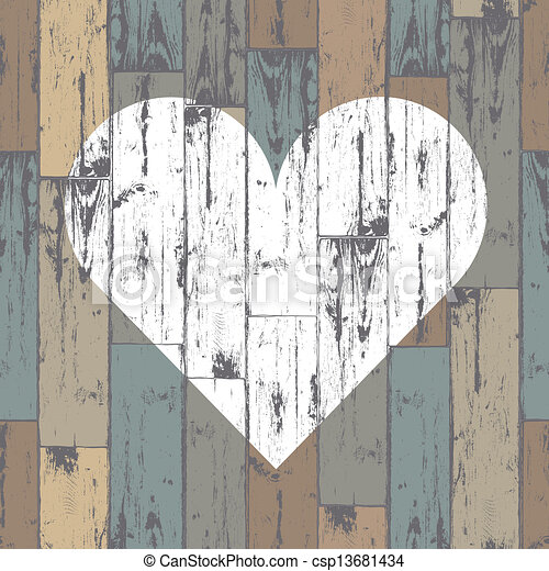 Corazón blanco de fondo de madera. Vector, EPS10 - csp13681434