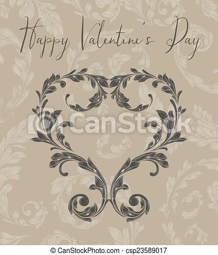 Corazón de San Valentín de hojas de Laurel - csp23589017
