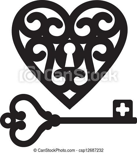 Corazón y llave maestra - csp12687232