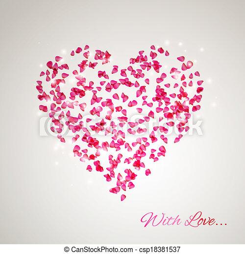 Corazón de los pétalos de rosa - csp18381537