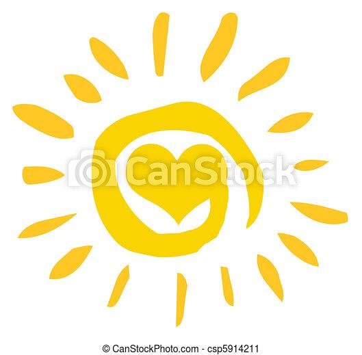 Abstracto sol con corazón - csp5914211