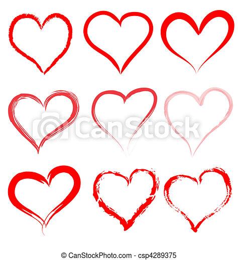 Día de San Valentín, vector de corazones rojos, corazón Valentine - csp4289375