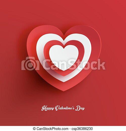 La forma del corazón del día de San Valentín vector de recorte de papel - csp36386230