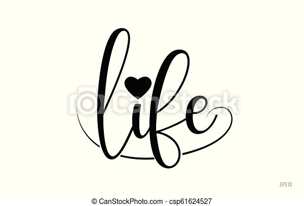 Texto de tipografía de vida con corazón de amor - csp61624527