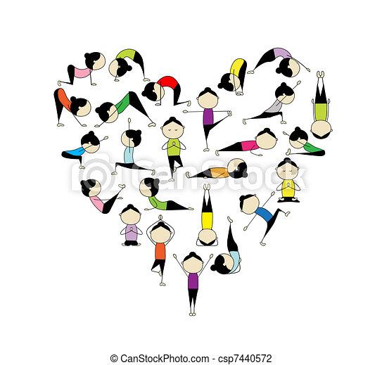 ¡Me encanta el yoga! Forma del corazón para tu diseño - csp7440572