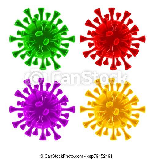 coronavirus, células, conjunto, virus, covid-19 - csp79452491