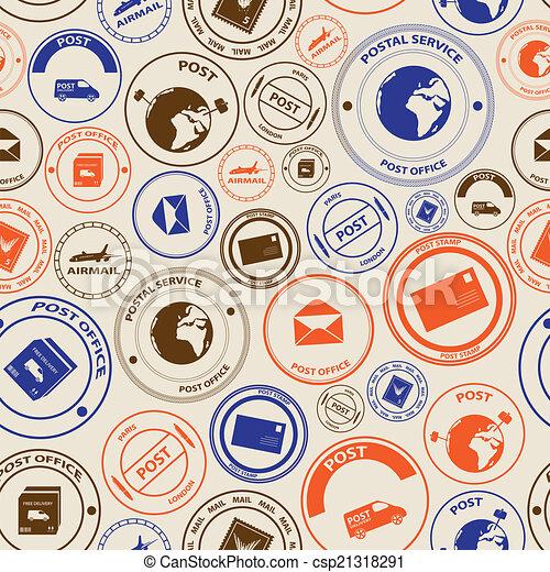 Correo de color y sellos postales sin costura eps10 - csp21318291