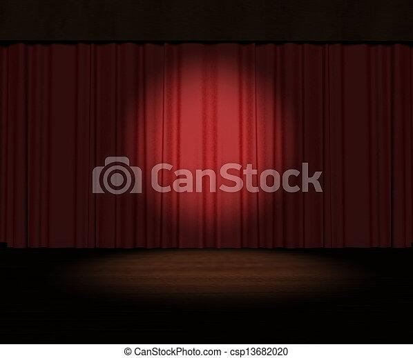 Tercera cortina roja con foco en el escenario - csp13682020