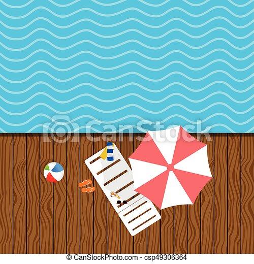 Cosas de playa con ilustraciones de mazorca - csp49306364