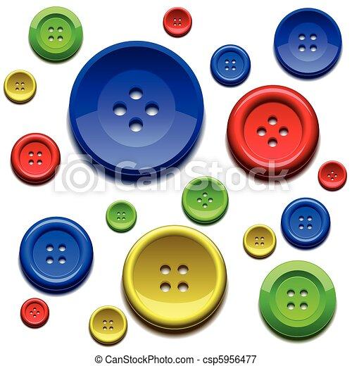 Cosiendo botones de colores - csp5956477