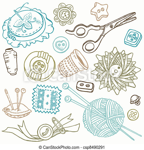 Cosiendo Kit Doodles, dibujando a mano elementos de diseño en vector - csp8490291