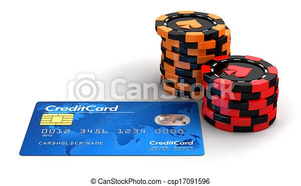 Paquetes de fichas de casino y tarjeta de crédito - csp17091596