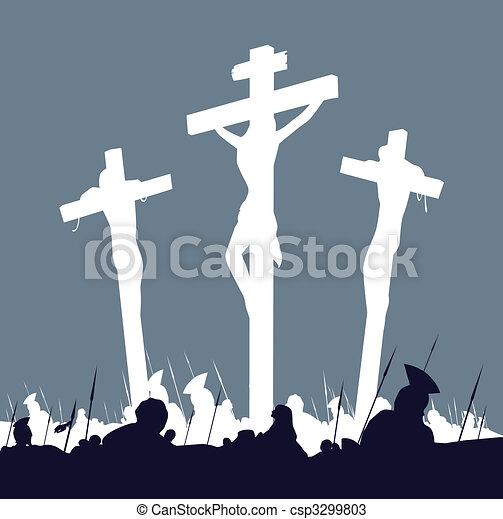 Jesucristo crucifixión escena con tres cruces - csp3299803