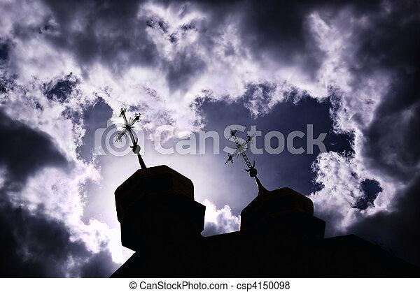 Silueta de iglesia con cruces - csp4150098