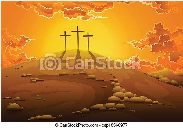 La crucifixión del calvario - csp18560977