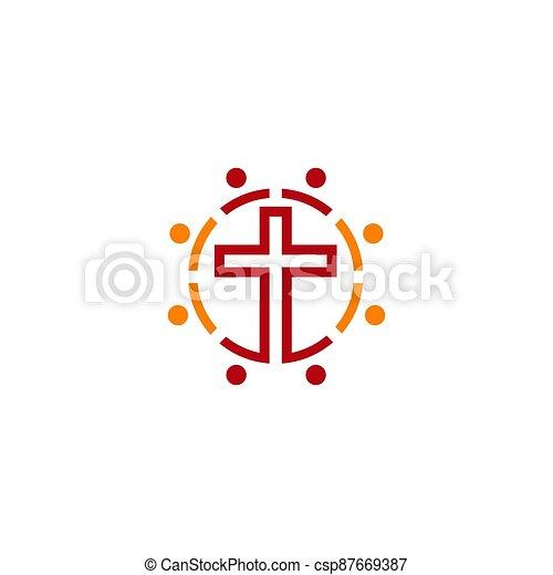 cruz, fuego, logo., espíritu, cristiano, iglesia, santo, symbols., jesús - csp87669387