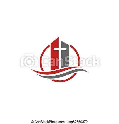 cruz, fuego, logo., espíritu, cristiano, iglesia, santo, symbols., jesús - csp87669379