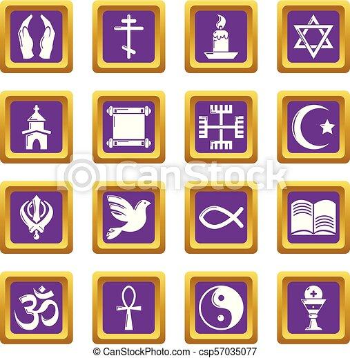 Los iconos religiosos marcan vector cuadrado púrpura - csp57035077