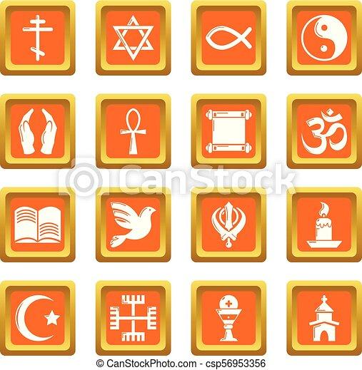 Los iconos religiosos marcan vector cuadrado naranja - csp56953356