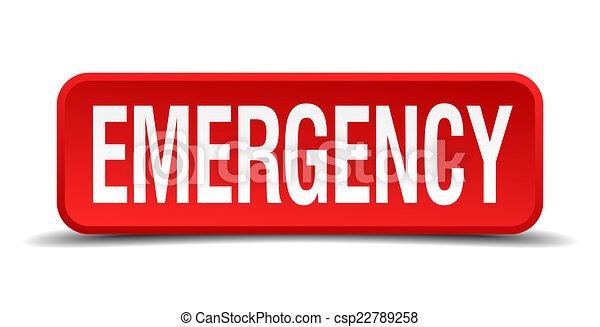 Botón rojo de emergencia 3D cuadrado aislado en fondo blanco - csp22789258