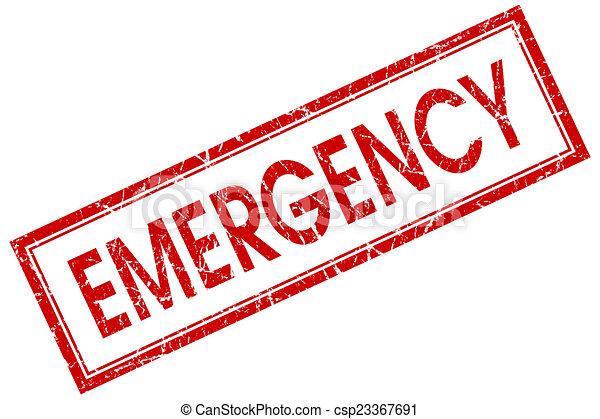 Estampa roja de emergencia aislada en fondo blanco - csp23367691