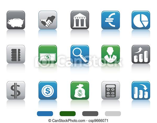 Botón cuadrado de simples iconos de finanzas y banca - csp9666071