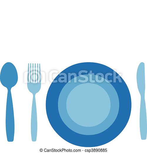 Plata con tenedor, cuchillo y cuchara aislados en el fondo blanco - csp3890885