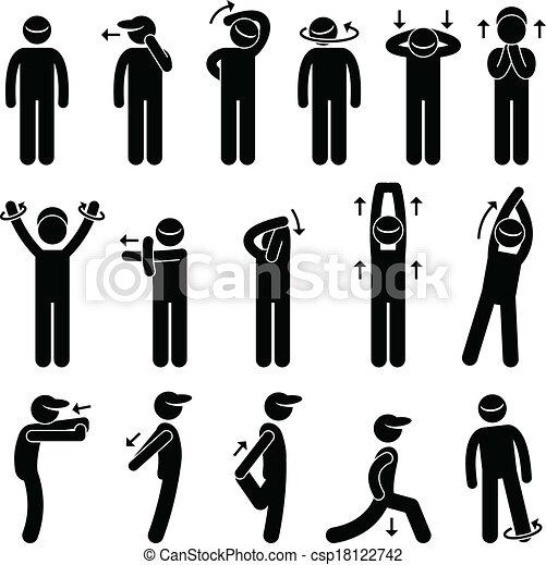 El icono de ejercicios de estiramiento corporal - csp18122742